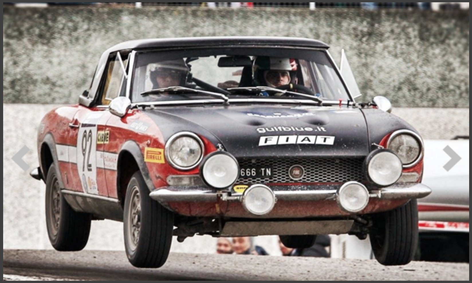 Jumping fiat in rallye car